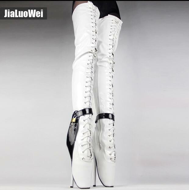 disponibile donna High Heels scarpe Stilettos Over Knee High High High stivali 18CM Metal Chain Lock Hot  con il 60% di sconto
