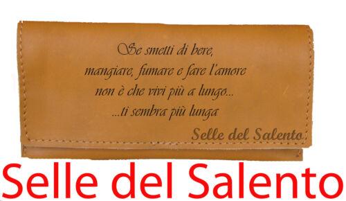 Portatabacco inciso Frase 1 vera pelle Lotto idea regalo stock fumatore vintage
