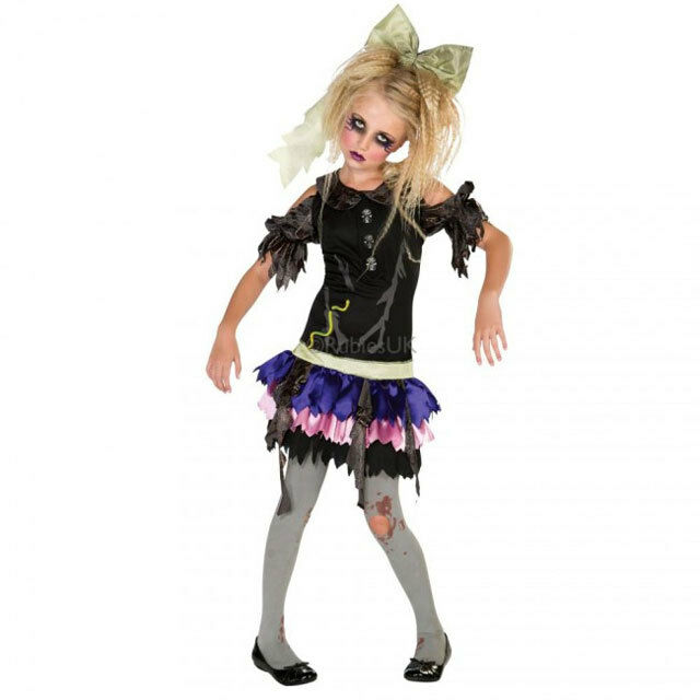rubies costume zombie doll kids size small 3 4 years halloween dress 16844