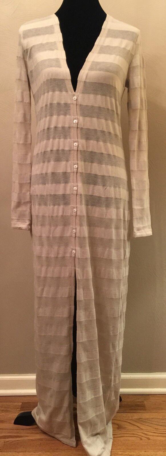 BB Dakota damen Maxi Dress Sz Small Beige Stripe V-Neck Button Down Rockabilly
