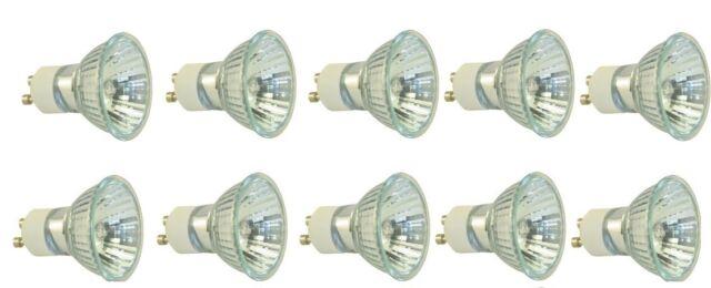 10 Pack 35W GU10 JDRC MR16 120V Halogen Flood Light Bulbs Dimmable Cover Glass