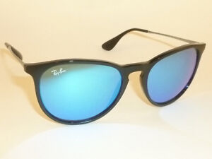 8adae4ee87 New RAY BAN Erika Sunglasses Black Frame RB 4171 601/55 Blue Mirror ...