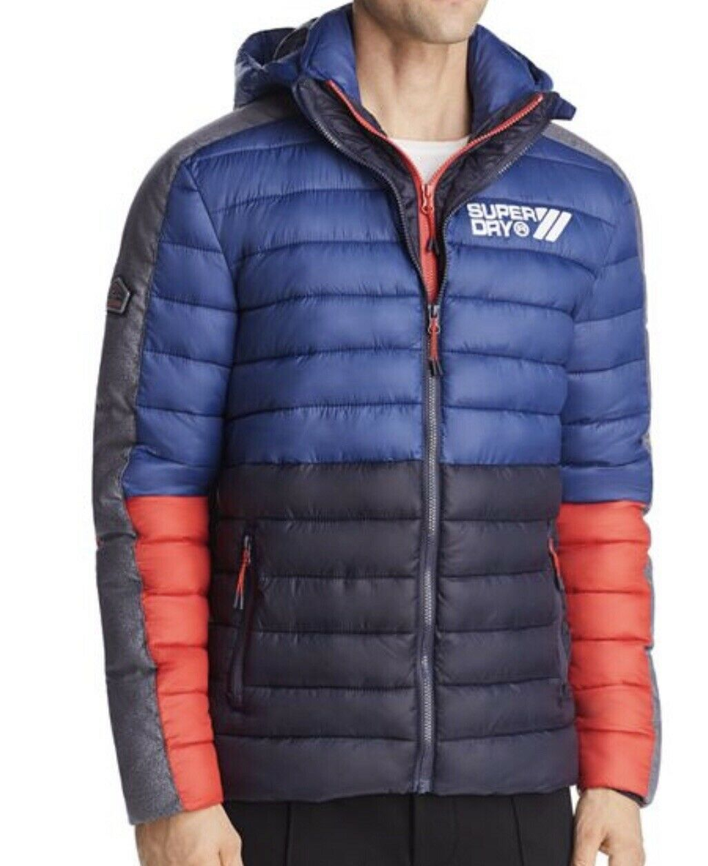 SUPERDRY Fuji Farbe-Block Puffer Jacket Harbour Navy (Größe LARGE) BNWT