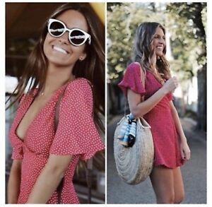 volume large attractive price enjoy free shipping Details about Zara Fuchsia Pink Polka Dot V-Neck Short Jumpsuit Playsuit -  Size M - UK 10 BNWT
