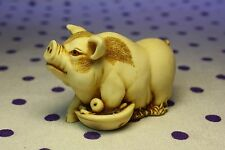 Martin Perry Studios QT's Spotted PIG Piglet Hog Sow Figurine Food Bowl Apple