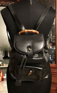 Gucci-Vintage-Bamboo-Black-Leather-Mini-Backpack