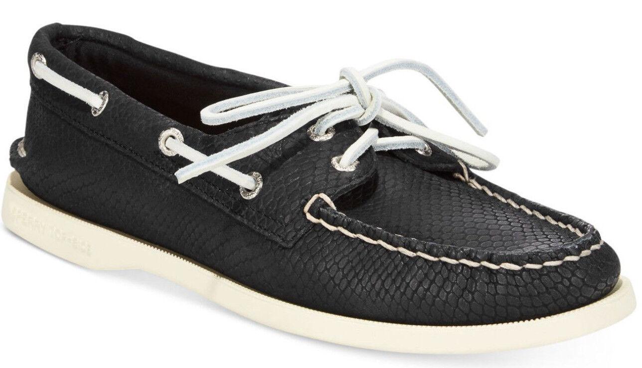 Zapatos De Cuero nuevo En Caja Sperry Top-sider A O O O 2-Eye Barco Negro Python para mujer Talla 5  promociones