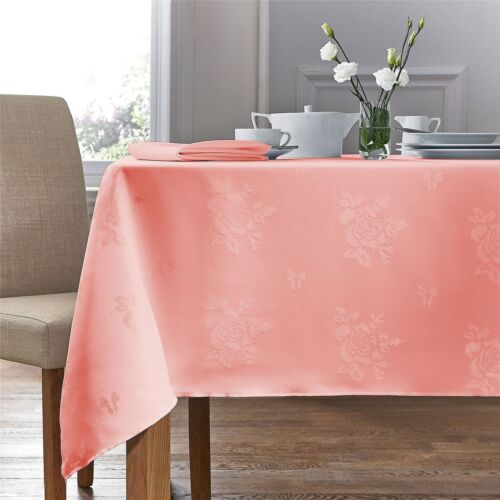 """WOVEN DAMASK ROSE SALMON PINK RECTANGLE TABLECLOTH 54"""" X 70/"""" 137CM X 178CM"""