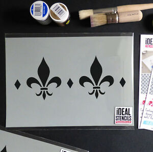 Image Is Loading Fleur De Lis French Border Pattern Stencil Shabby