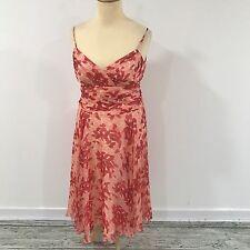 NEW MONSOON Red Dress Womens Floral Print 100% Silk Summer Size UK 14 12449