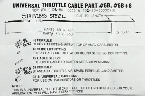 "Internal Throttle Kit SS Cable 1"" Handlebars Harley Bobber Chopper Triumph XS6"