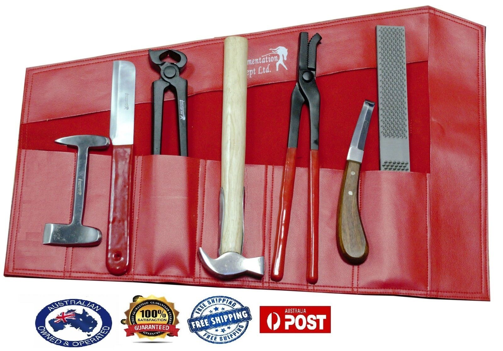 Premium Farrier Hoof Kit 7 Pieces Instruments Kit with Leather Roll Up Wallet