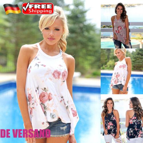 DE Damen Ärmellos Blumen Trägertops Asymmetrische Oberteil Sommer Casual T-Shirt