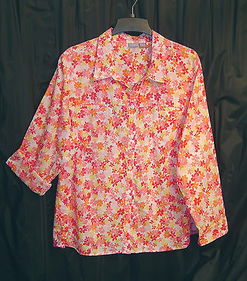 100% COTTON FLORAL BUTTON FRONT ROLL-TAB TOP TUNIC SHIRT BLOUSE~24/26W~3X~2X~NEW