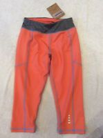 Lands End Fitness Crops Capris Medium 5-6 Girls Coral Grey Heather Run Dance