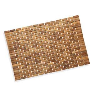 Luxurious Teak Wood Bath Mat Feet In//Out The Shower Floor Bath Non Slip Large US