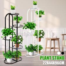4 Tier Garden Wooden Plant Stand Pot Holder Display Shelf In//Outdoor Wheel US