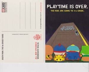"""South Park Promo 2000 4"""" x 6"""" postcard unused Playtime Is Over"""