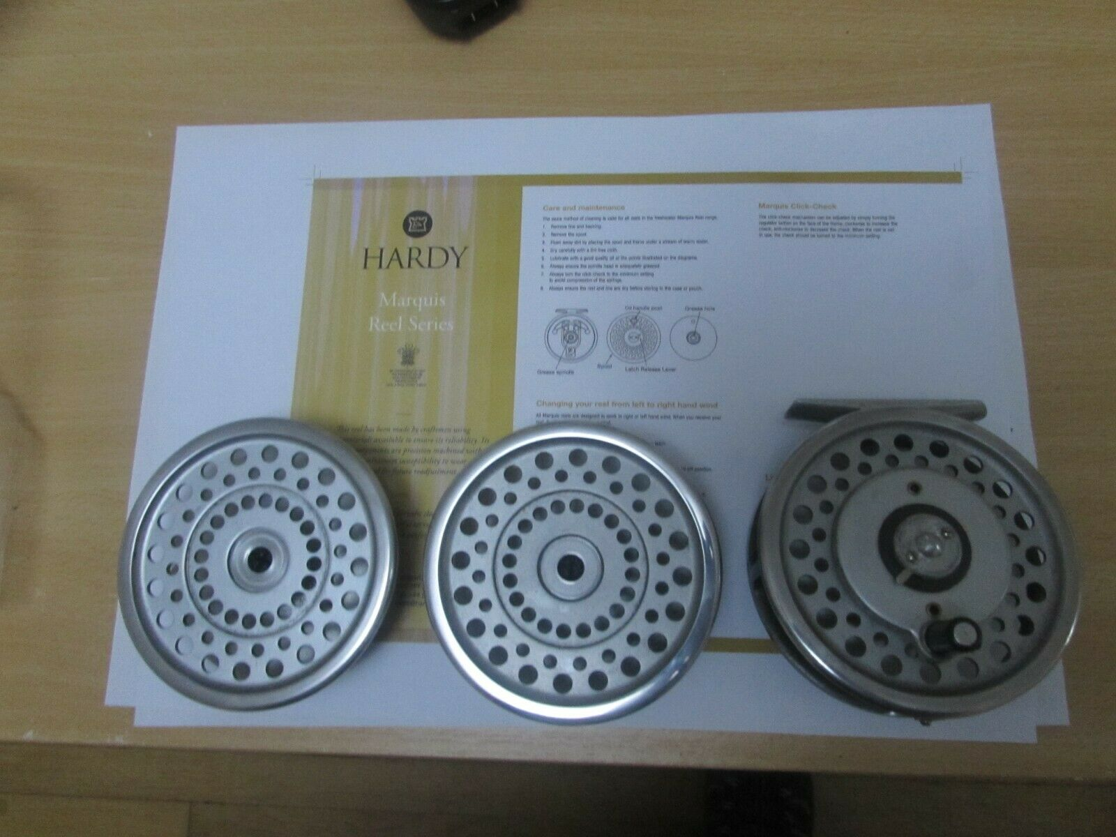 A1 eccellente VINTAGE Hardy Marquis 7 Moltiplicatore Trossoa Fly pesca Reel 2 BOBINE