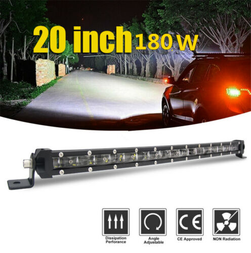 1p 6D 20inch 180W Slim CREE Single Row LED Light Bar Spot Beam Driving SUV Truck