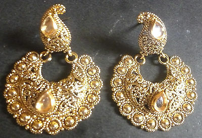 South Indian Antique Gold Plated Kundan Jhumka Earrings Set