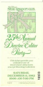 Walt-Disney-25th-Annual-Director-Party-Ticket-1982-Magic-Kingdom-Club