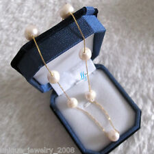 """18"""" 9.0-10.0mm White AA Freshwater Pearl Tin Cup Chain Necklace G"""