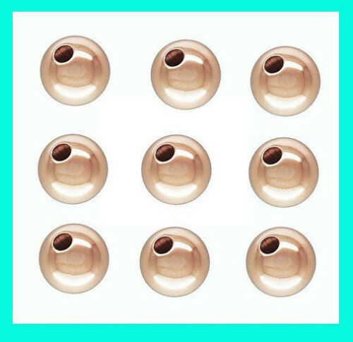 4x 8mm 14k rose gold filled round seamless shiny bead spacer S08rg