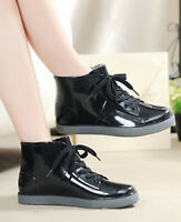 New Women Casual Rain Boots Flat Wellies Rain Shoes Elastic Ankle