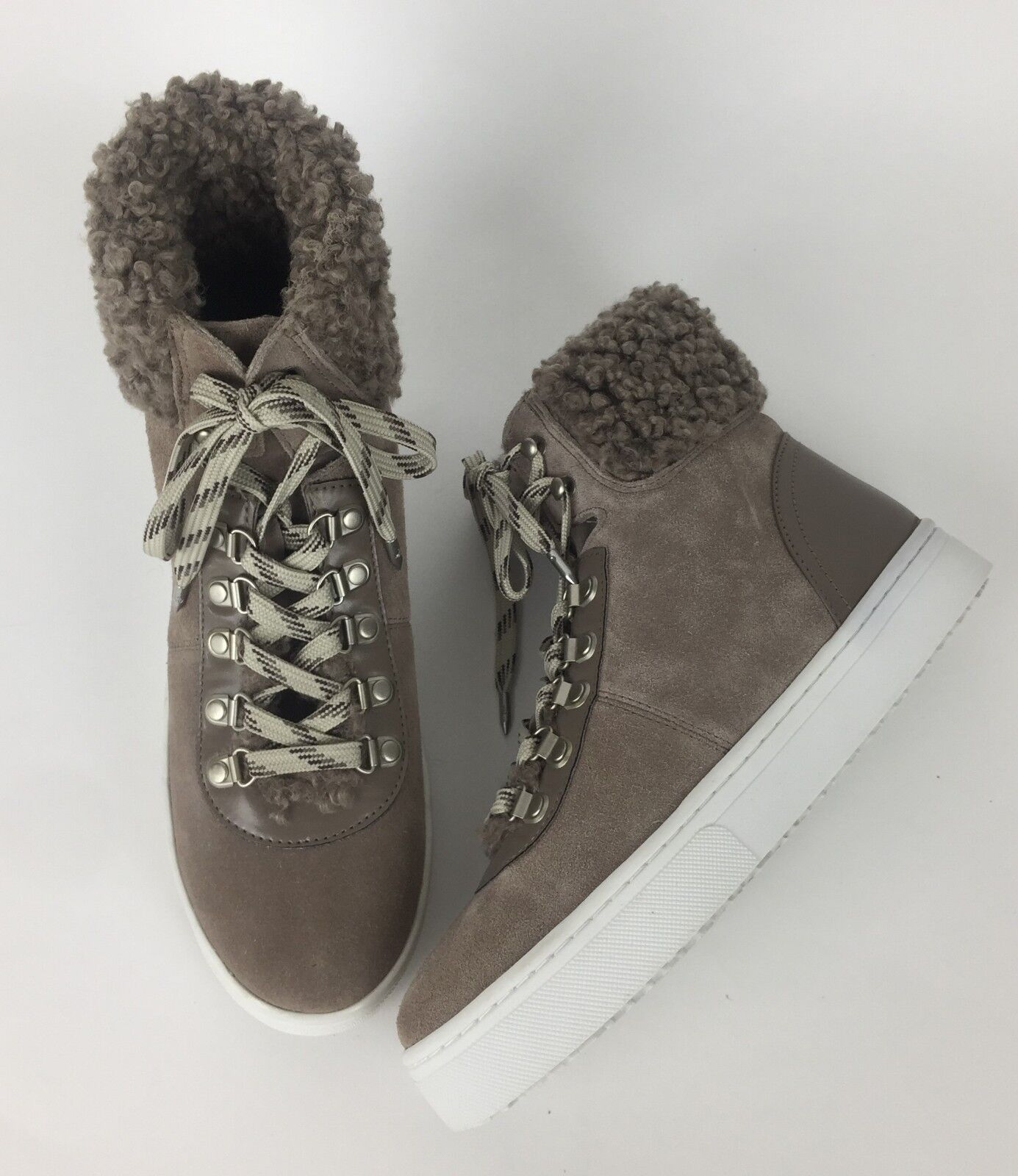 Sam Edelman Luther High Top Sneaker Womens 8.5 Faux Shearling Suede Putty New