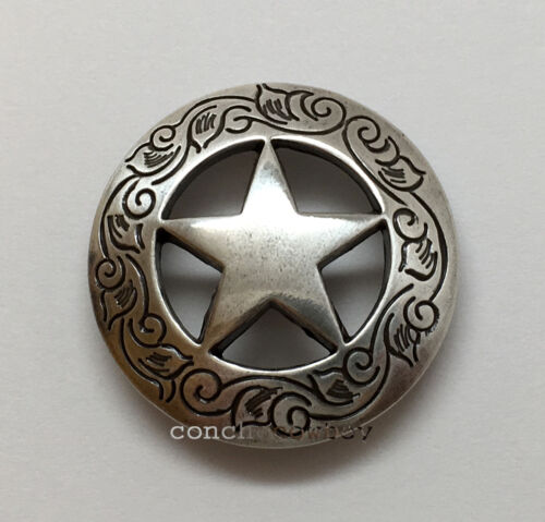 """WESTERN HORSE SADDLE HEADSTALL TACK ANTIQUE STAR CONCHO 1-1//8/"""" screw back"""