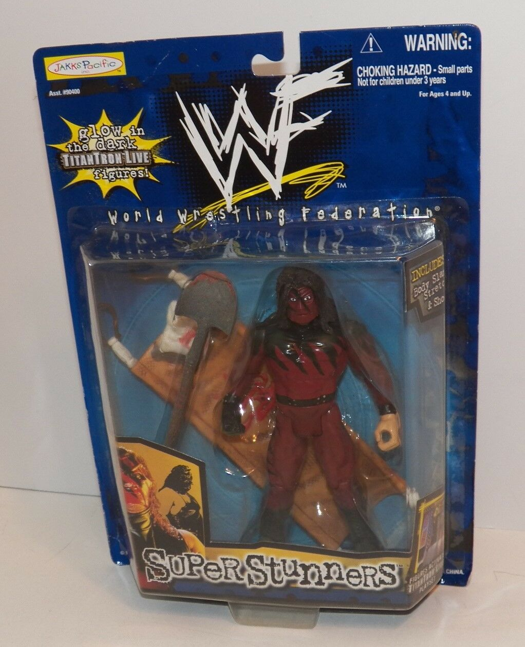 WWF Super Stunners KANE Glow In The Dark FIGURE with STRETCHER & SHOVEL  New