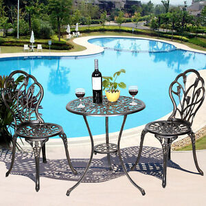 Image Is Loading GOPLUS Cast Aluminum Patio Furniture Tulip Design Bistro