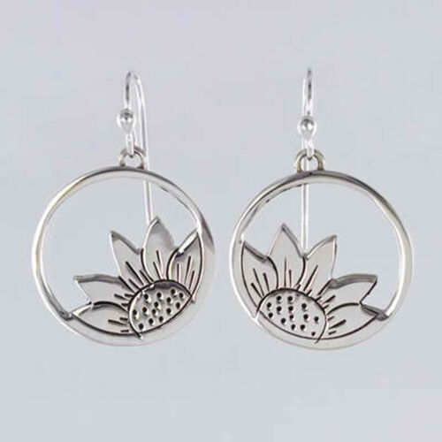 Cutout Sunflower Dangle Earrings 925 Sterling Silver Far Fetched Gift Boxed