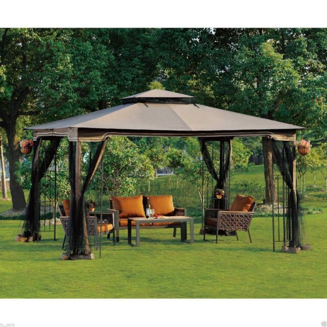 Attirant Outdoor Gazebo With Netting Canopy Backyard Pergola 10 X 12 Garden Patio  Wedding