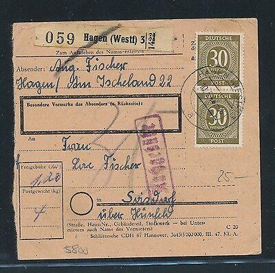 westf Ab Paketkarte Hagen Mef 4x 30pf Ziffer GüNstiger Verkauf 03395 3 Landpost Hünfeld Um Eine Reibungslose üBertragung Zu GewäHrleisten