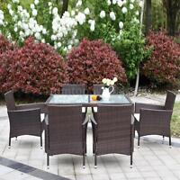 7pcs Rattan Patio Dining Table Chairs Set Garden Furniture Beige Cushion Us H7y6 on sale