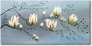 Hand-Painted-Magnolia-Flower-Oil-Painting-on-Canvas-White-Floral-Art-Home-Decor