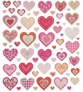 Silver-Foil-Pattern-Hearts-Stickers-Planner-Papercraft-Party-Journal-Valentine-039-s