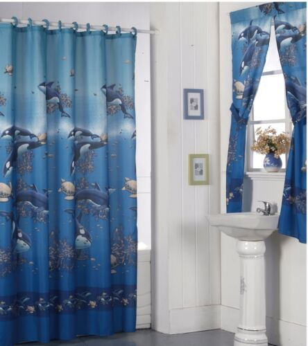 Shower Curtain Drapes Bathroom Window Set w// Liner+Rings