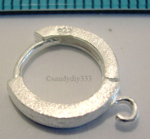 2x Sterling Silver Satin Round Hoop Ear Wire Dangle Earwire 11 mm Boucles d/'oreilles N061