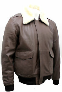 0030a942aa5 Men s A2 Brown Sheep Nappa Leather Bomber Jacket wi Detachable ...