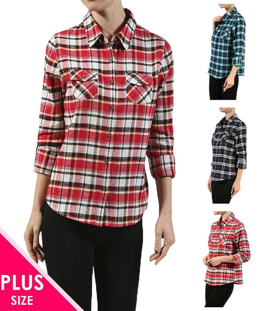 a5013d8e18891 Details about Junior Plus Size Long Sleeve Front Pocket Cowboy Plaid Shirt  Top XL ~ 2XL