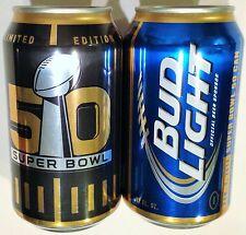 Bud Light Super Bowl 50 Limited Edition 2015 NFL 12oz beer can 665194 Bott Open