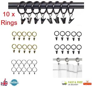 10 x 30mm CURTAIN RINGS & CLIPS Metal Curtain Pole Rod Ring Voile Net Hanging UK