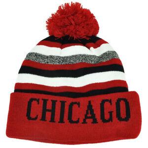 Chicago Pom Pom Cuffed Toque Red White City State Town Beanie Knit Striped Skull