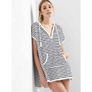 f9a4b5f208 New Gap Terry Cloth Hooded Sleeveless Blue Stripe Poncho Beach Cover ...