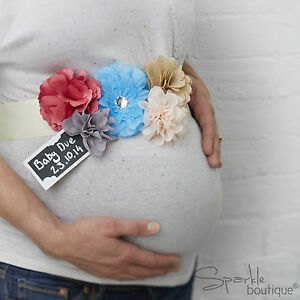 Image Is Loading FLORAL MUM TO BE SASH Vintage Unisex Baby