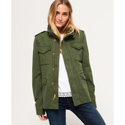 New Womens Superdry Rookie Classic Military Jacket Troop Khaki