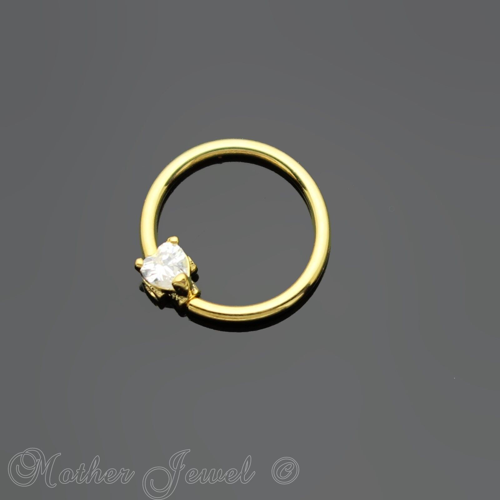 16G 14K YELLOW GOLD IP 5 SIMULATED DIAMONDS ANNEALED BENDABLE HOOP EAR NOSE RING